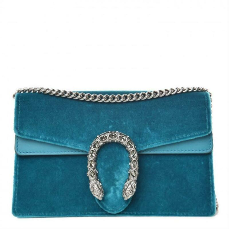 Gucci Chain Dionysus Super Mini Peacock Blue Velvet Cross Body Bag