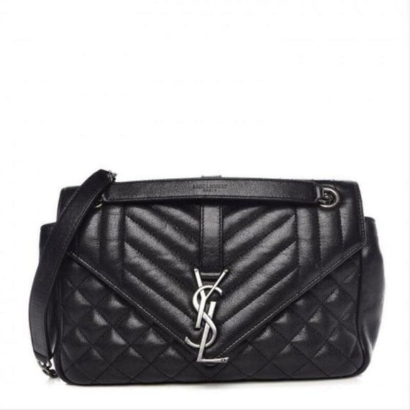 Saint Laurent Envelope Medium Tri-quilt College Monogram Satchel Black Sheepskin