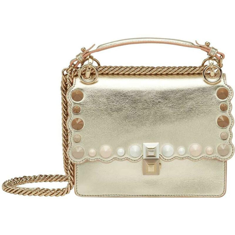 Fendi Small Kan I Metallic Gold Leather Shoulder Bag