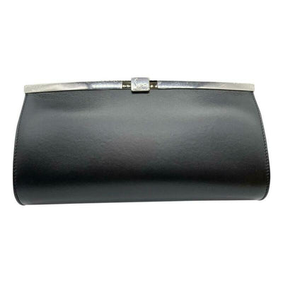 Christian Louboutin Clutch Palmette Calfskin Frame Chain Black Leather Shoulder