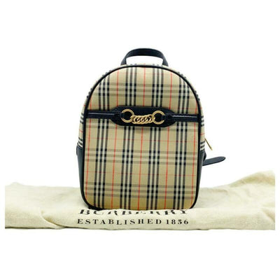 Burberry Link 1983 House Check Brown Canvas Backpack