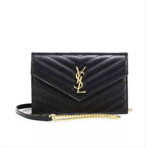 Saint Laurent Chain Wallet Small Black Leather Cross Body Bag