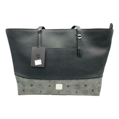 MCM Wilder Visetos Shopper Black Leather Tote