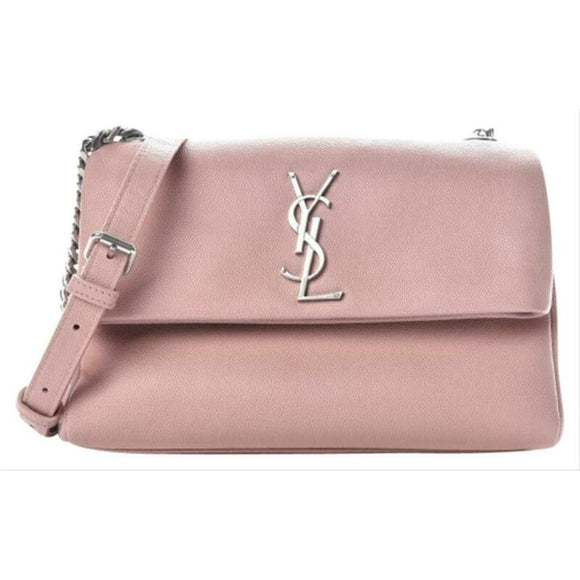 Saint Laurent Grain De Poudre Small West Hollywood Monogram Fold-over Pale Blush
