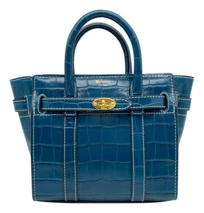 Mulberry Micro Bayswater Croc Embossed Satchel Blue Leather Shoulder Bag