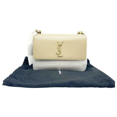 Saint Laurent Monogram Sunset Medium Beige Leather Shoulder Bag