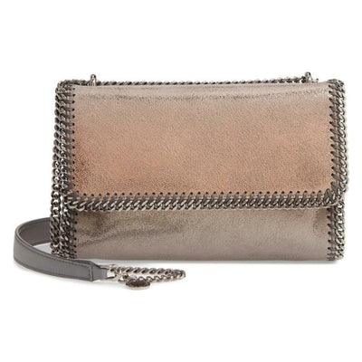 Stella McCartney Ombre Falabella Shaggy Deer Metallic Grey Faux Leather Shoulder