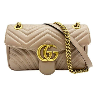 Gucci GG Marmont Calfskin Matelasse Small Nude Pink Leather Shoulder Bag