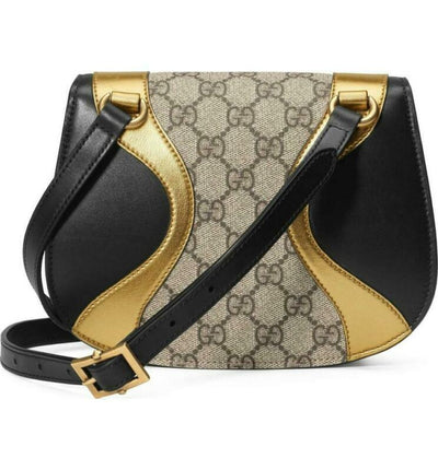 Gucci Osiride Mini Gg Supreme & Leather Gold Brown Black Shoulder Bag