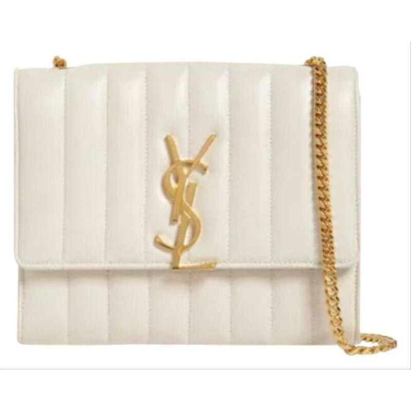 Saint Laurent Vicky Monogram Kate Tassel Metallic Monogram White Leather