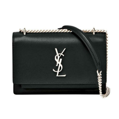 Saint Laurent Wallet on Chain Sunset Monogram Ysl Small Calf Black Leather