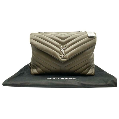 Saint Laurent Monogram Loulou Faggio Large Matelassé Brown Leather Shoulder Bag
