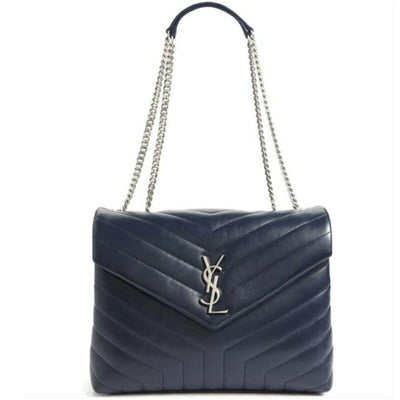 Saint Laurent Monogram Loulou Medium Navy Blue Calfskin Leather Shoulder Bag