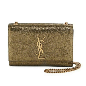 Saint Laurent Monogram Kate Monogram Ysl Small Metallic Gold Leather Cross Body