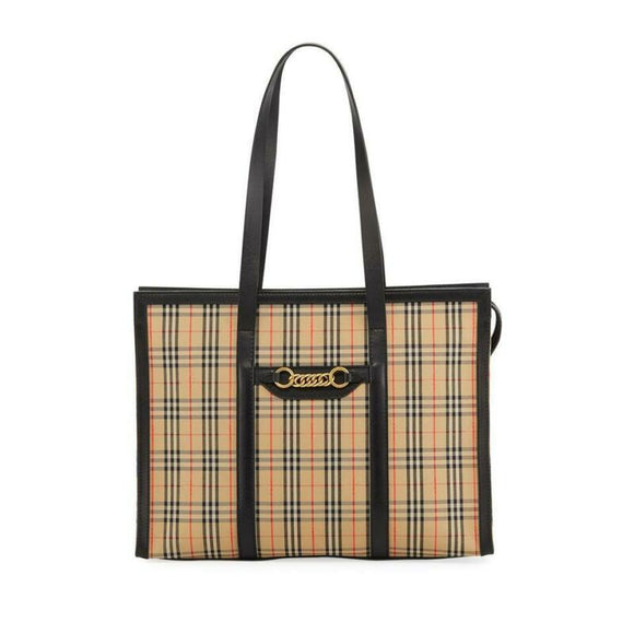 Burberry Bag Link 1983 House Check Shoulder Black Coated Canvas Tote