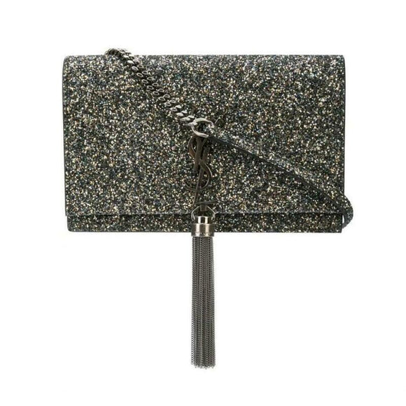 Saint Laurent Monogram Kate Tassel Glitter Chain Silver Leather Cross Body Bag