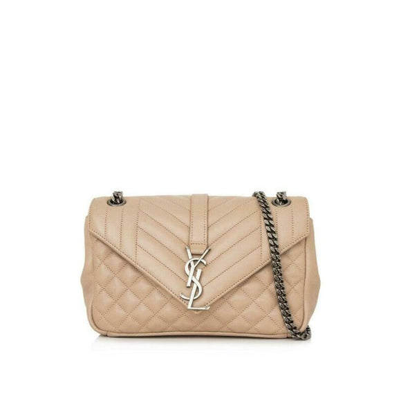 Saint Laurent Collège Monogram Envelop Classic Beige Leather Shoulder Bag