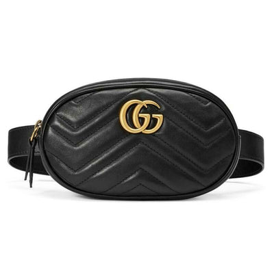 Gucci GG Marmont Belt Calfskin Matelasse 95 38 Black Leather Messenger Bag