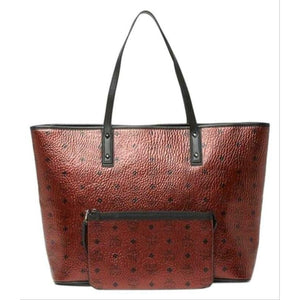 NEW MCM Top Zip Monogrammed Shopper Metallic Red Coated Canvas Tote $799