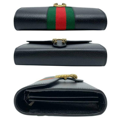 Gucci Dionysus 2019 Web Stripe Wallet On A Chain Black Leather Cross Body Bag