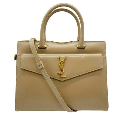 Saint Laurent Cabas Uptown Small Satchel Beige Leather Tote