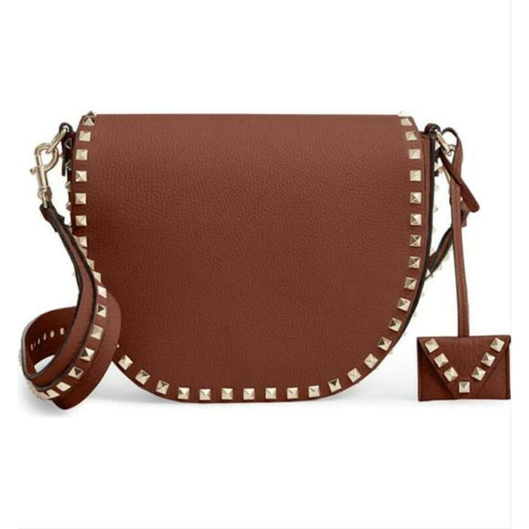 Valentino Crossbody Rockstud Saddle Brown Leather Shoulder Bag