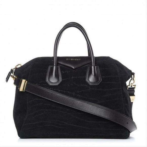 Givenchy Medium Antigona Black Suede Leather Shoulder Bag