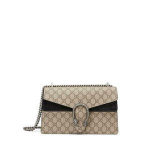 Gucci Chain Dionysus Small Black Beige Gg Supreme Canvas Shoulder Bag