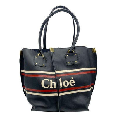 Chloé Vick Logo Embossed Full Blue Leather Tote