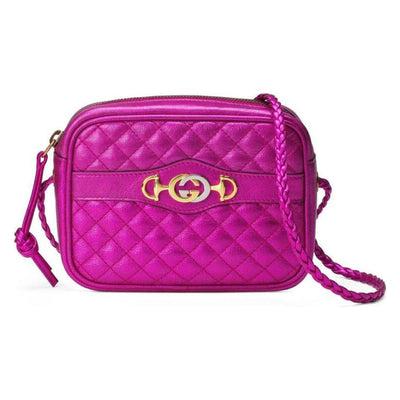 Gucci Camera Quilted Metallic Pink Leather Cross Body Bag