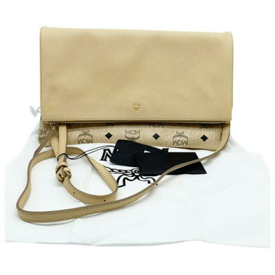 MCM Corina Leather & Visetos Foldover Beige Coated Canvas Cross Body Bag