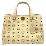 MCM Large Klara Visetos Diamond Hobo Shopper Crossbody Beige Coated Canvas