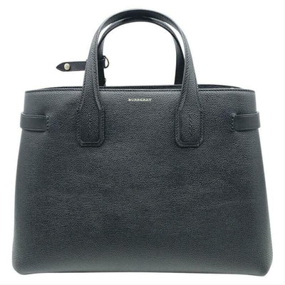 Burberry Banner Medium Black Leather Satchel