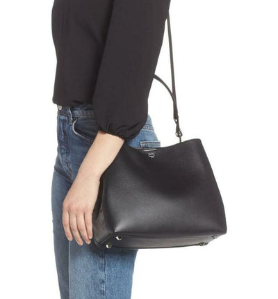 MCM Hobo Sarah Visetos Canvas Black Leather Shoulder Bag