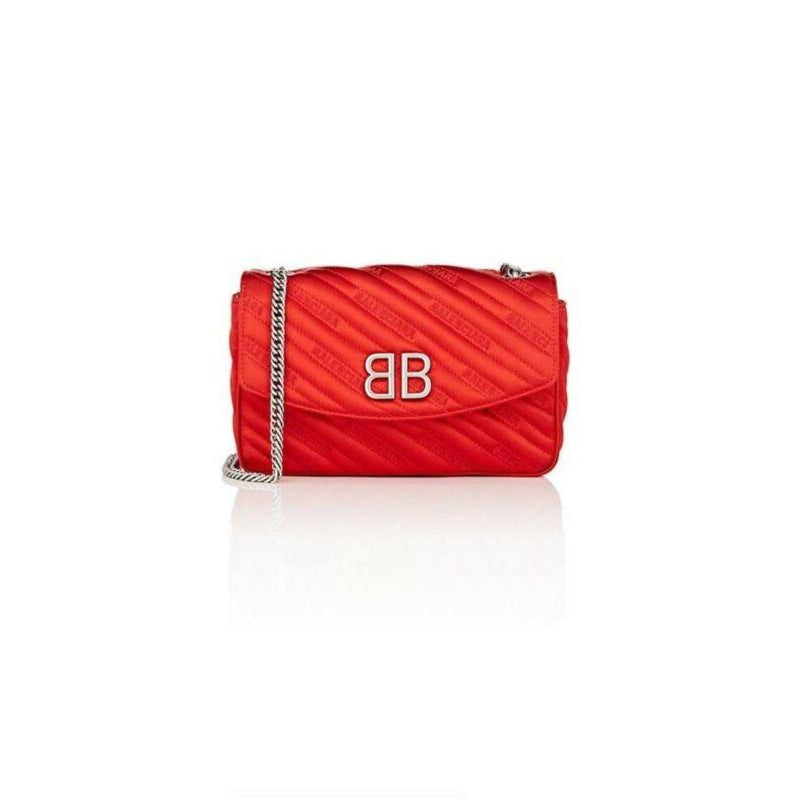Balenciaga Round Quilted Jacquard Bb Wallet On A Chain Red Satin Cross Body Bag
