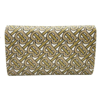 Burberry Hazelmere Logo Print Wallet Beige Leather Shoulder Bag