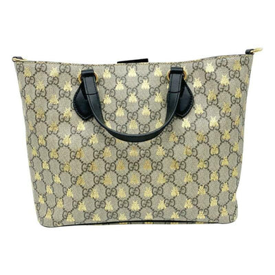 Gucci Bag New Gg Supreme Bees Beige Coated Canvas Tote