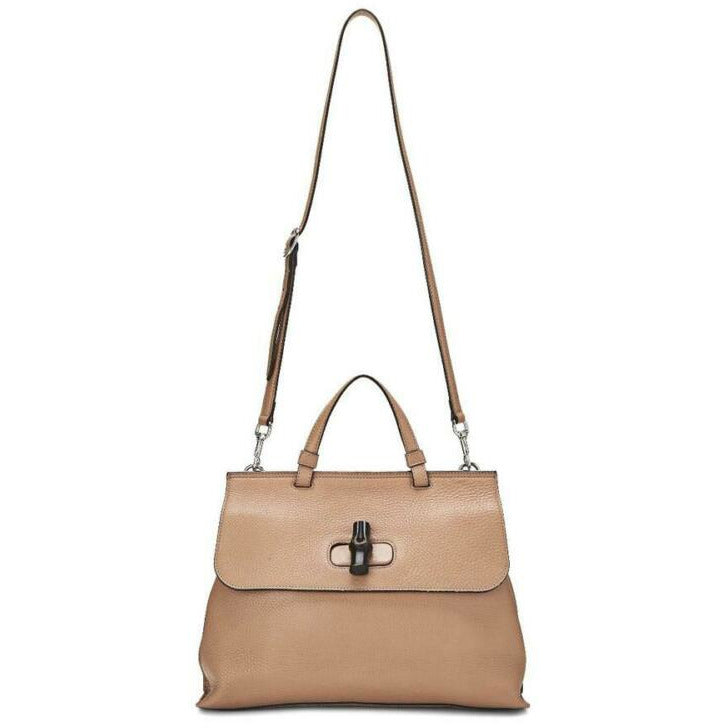 Gucci Medium Camelia Bamboo Daily Top Handle Beige Brown Leather Shoulder Bag