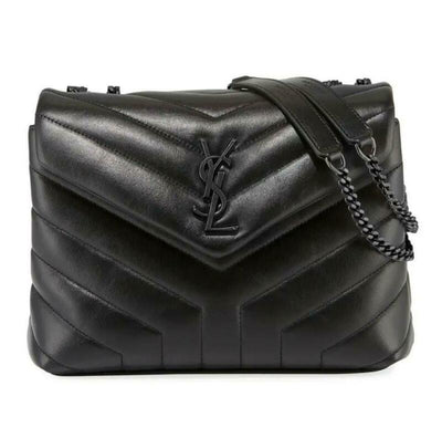Saint Laurent Monogram Loulou Small Matelasse Matte Black Leather Shoulder Bag