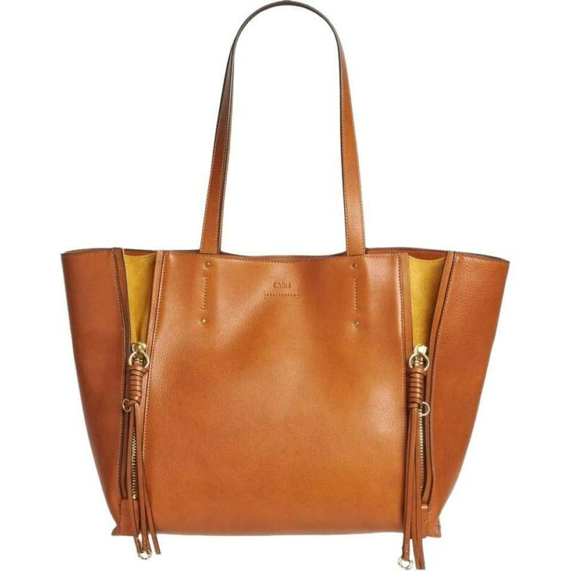 Chloé Milo Caramel Medium Calfskin Brown Leather Tote
