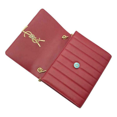 Saint Laurent Chain Wallet Vicky Lambskin Matelasse Rouge Eros Red Leather