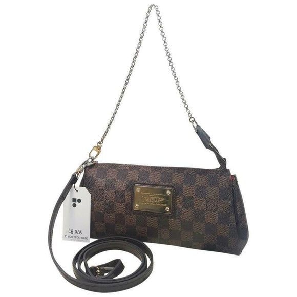 Louis Vuitton Eva Damier Ebene Chain Brown Coated Canvas Cross Body Bag