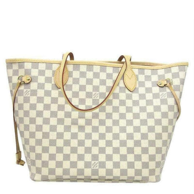 Louis Vuitton Neverfull Mm 2019 Rose Ballerine Pouch Damier Azur Canvas Tote