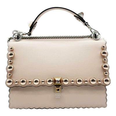 Fendi Mini Kan I Imitation Pearl Scallop Pink Leather Shoulder Bag