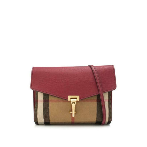 Burberry Small Macken House Check Red Leather Cross Body Bag