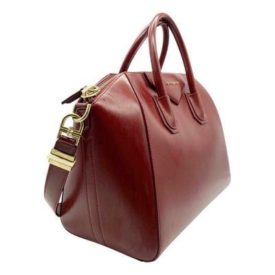 Givenchy Medium Smooth Antigona Burgundy Shiny Lord Red Leather Shoulder Bag