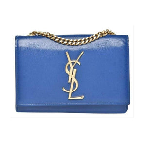 a20c712e141 Saint Laurent Monogram Kate Chain Small Blue Leather Cross Body Bag ...