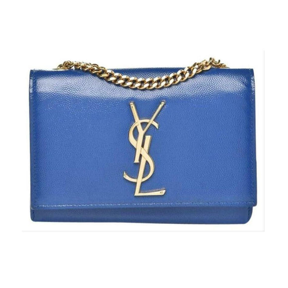 Saint Laurent Monogram Kate Chain Small Blue Leather Cross Body Bag