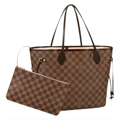 Louis Vuitton Neverfull 2019 Mm Damier Ebene Rose Ballerine Brown Coated Canvas