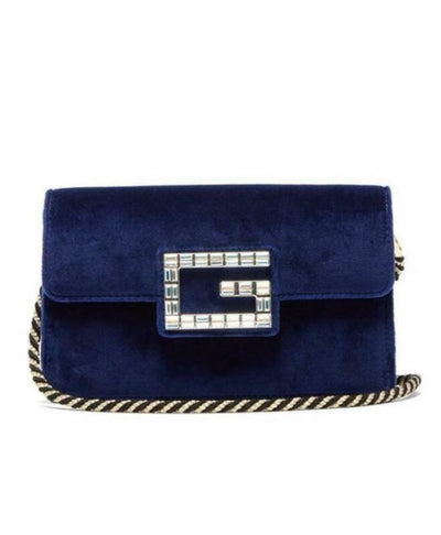 Gucci Shoulder Broadway Small with Square G Blue Velvet Cross Body Bag